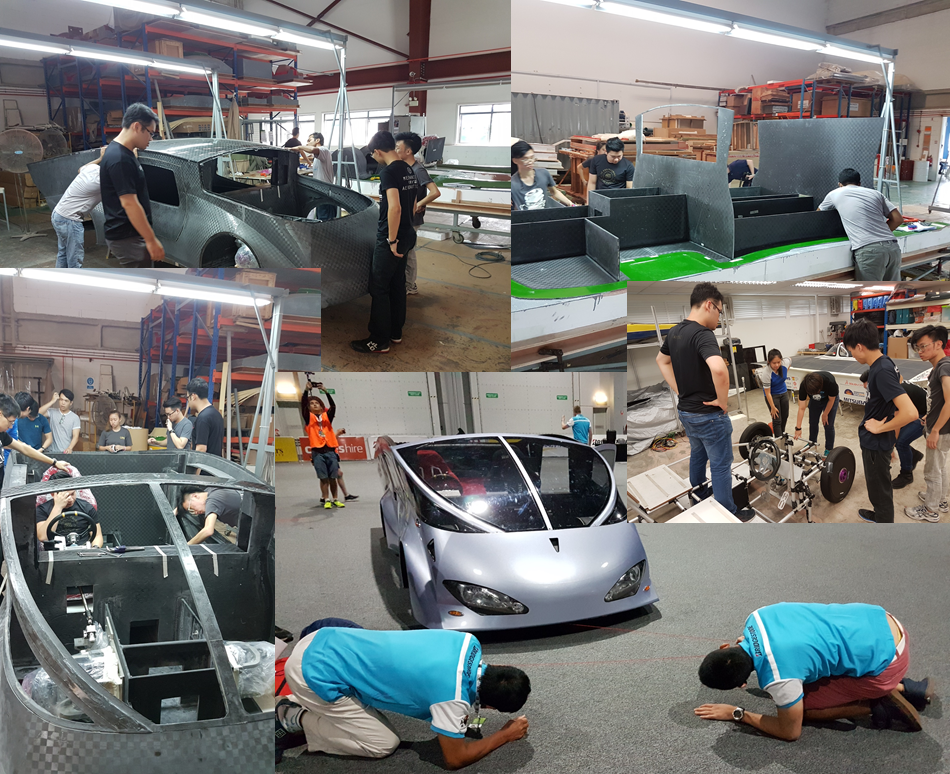 A collage of the various stages of production