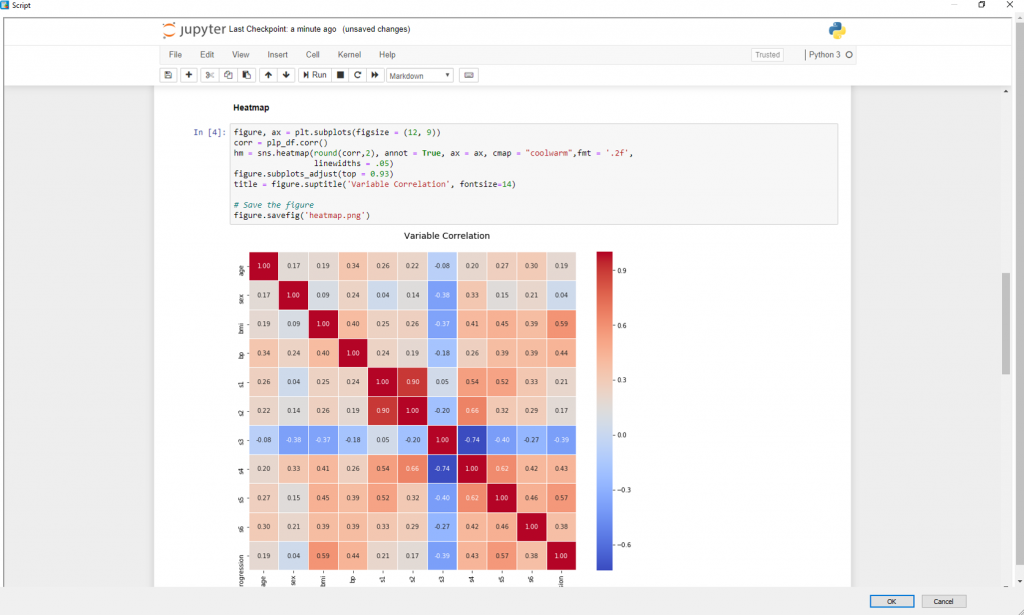 BIOVIA > Jupyter Notebook Variable Correlation Heatmap in BIOVIA Pipeline Pilot