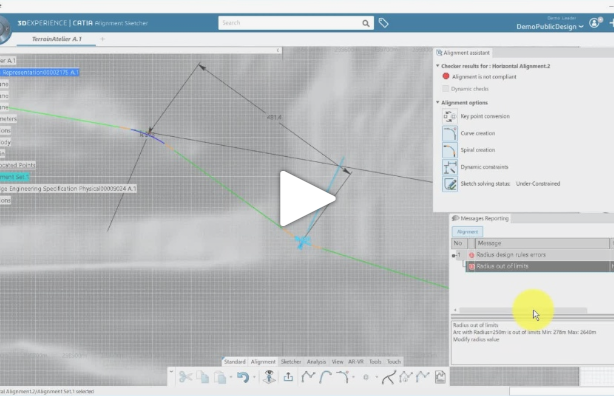 CATIA Civil Engineering tutorials : Alignment Design
