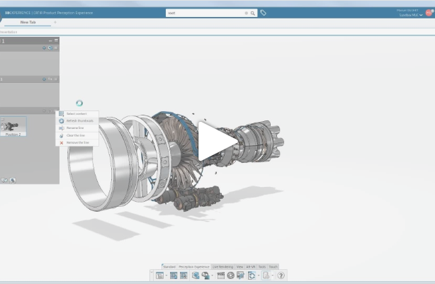 Exploding a turbo reactor engine with CATIA Product Perception Experience