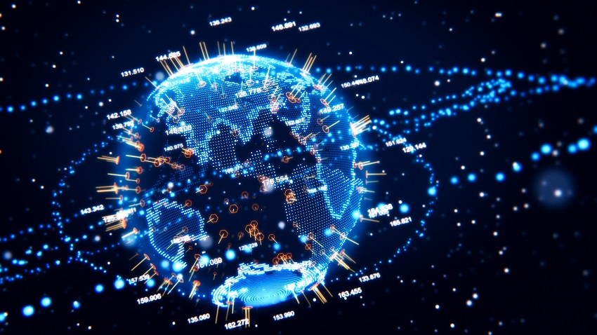 abstract globe with futuristic network