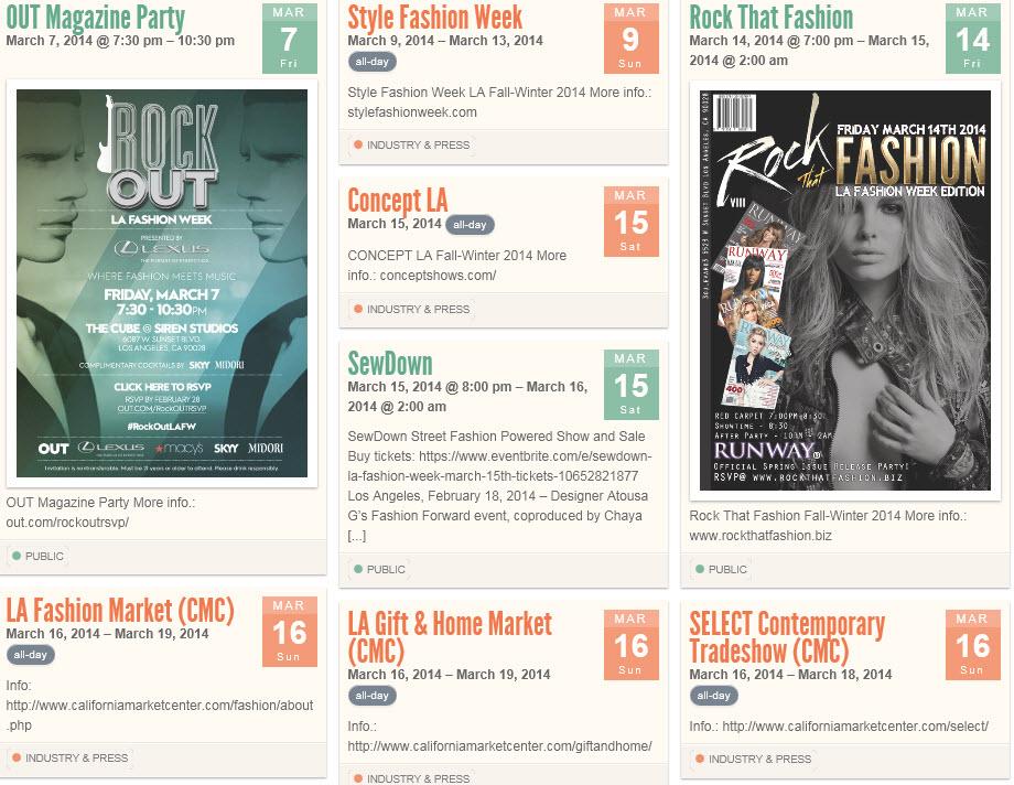 LA fashion week calendar
