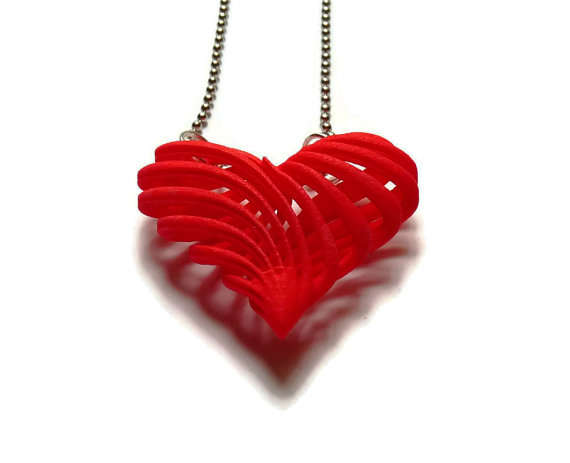 """3D Printed Pendant """"My Twisted Heart"""""""