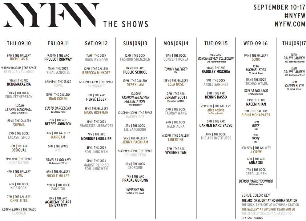 Mercedes Benz New York Fashion Week Schedule Spring Summer 2016 Fashionlab
