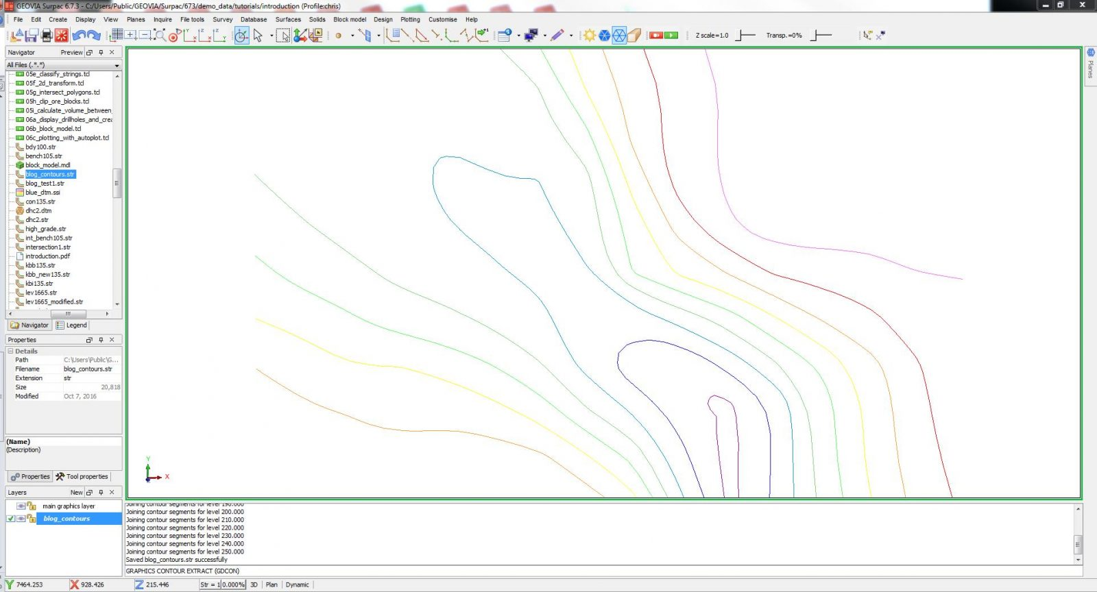 Creating Contours From a DTM Surface for Plotting in GEOVIA Surpac