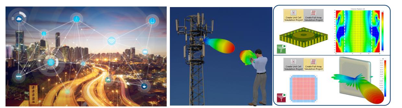 (좌) 네트워크로 상호 연결된 기기의 개념도 / (중) 모바일 기기와 기지국 / (우) 배열 안테나 해석 기반 최적화 설계