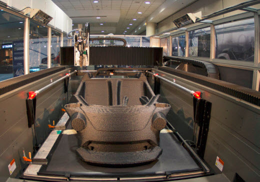 3D printed car being produced inside the BAAM system