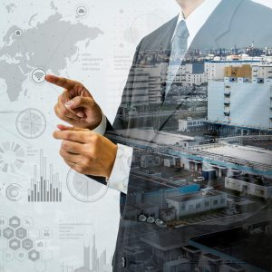 double exposure of a business person and industrial HUD interface, futuristic GUI(Graphical User Interface), IoT(Internet of Things), technological abstract