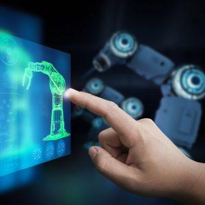 Technician control 3d rendering robot arm in factory