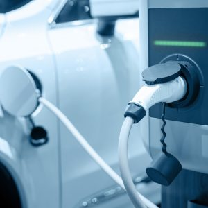 Charging an electric car battery, new innovative technology EV Electrical vehicle