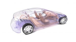 Transparent car design, wire model.3D illustration.