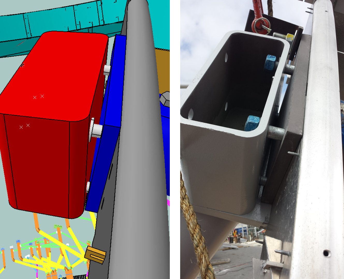 Left: Model view of survey information for steel (Red box is the steel as surveyed in the field; Blue is ideal panel.) Right: Installation photo of anchor.