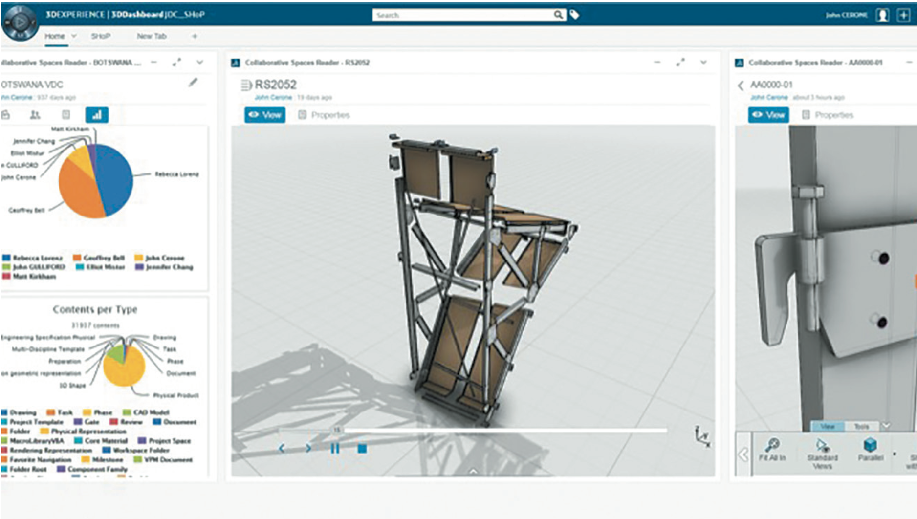 SHoP uses the 3DEXPERIENCE platform's live dashboarding capabilities with ENOVIA to allow people with specific roles and interests to participate in the project at various stages and maturities.