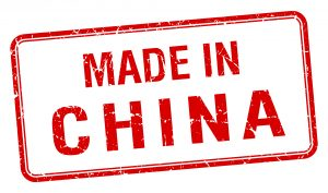 made in China red square isolated stamp