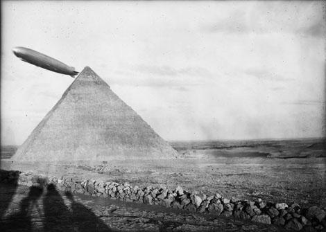 Graf Zeppelin over Khafre pyramid, looking east April 9, 1931 Photograph by Mohammedani Ibrahim
