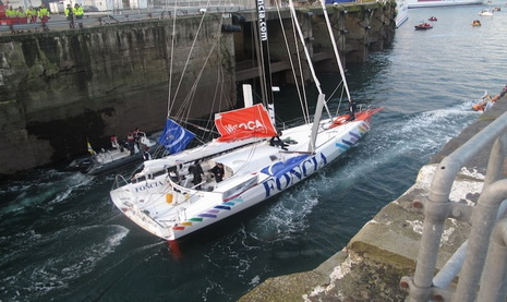 Foncia has been the first IMOCA boat going out of Saint-Malo - photo (c) Windreport'/Team Foncia, used by permission