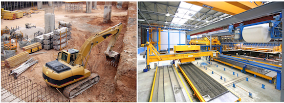 When in the field, even Lean construction (left) means scheduling conflicts due to the need to store materials onsite and sequence work. In Lean manufacturing of buildings (right) as few as two workers are able to complete numerous tasks at once and produce high quality parts much faster than could be done in the field.