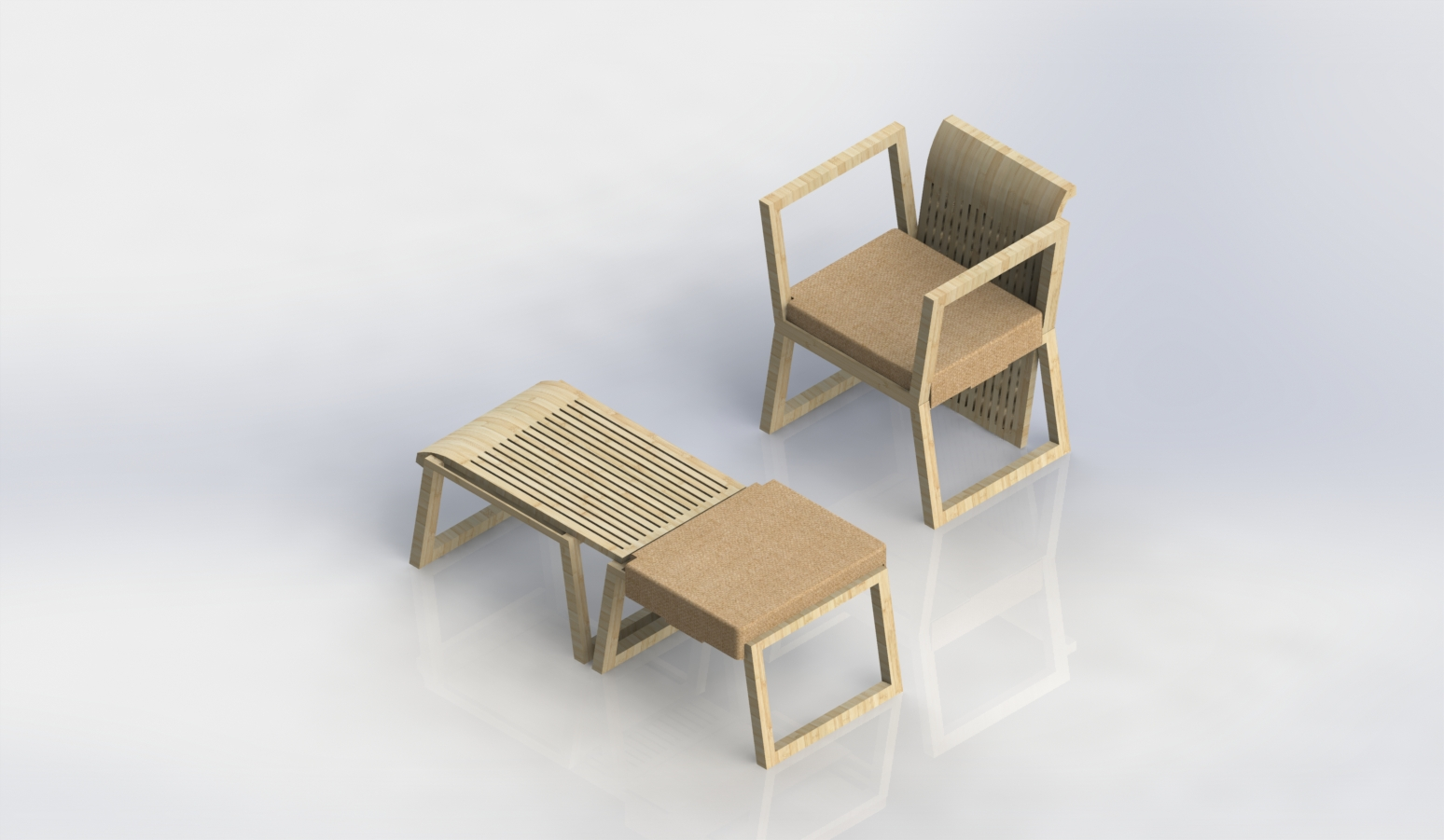 Palet Wood Modular Chair Bed Solidworks Models 3d Perspectives