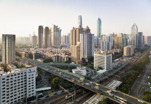 China, Shenzen skyline, elevated view