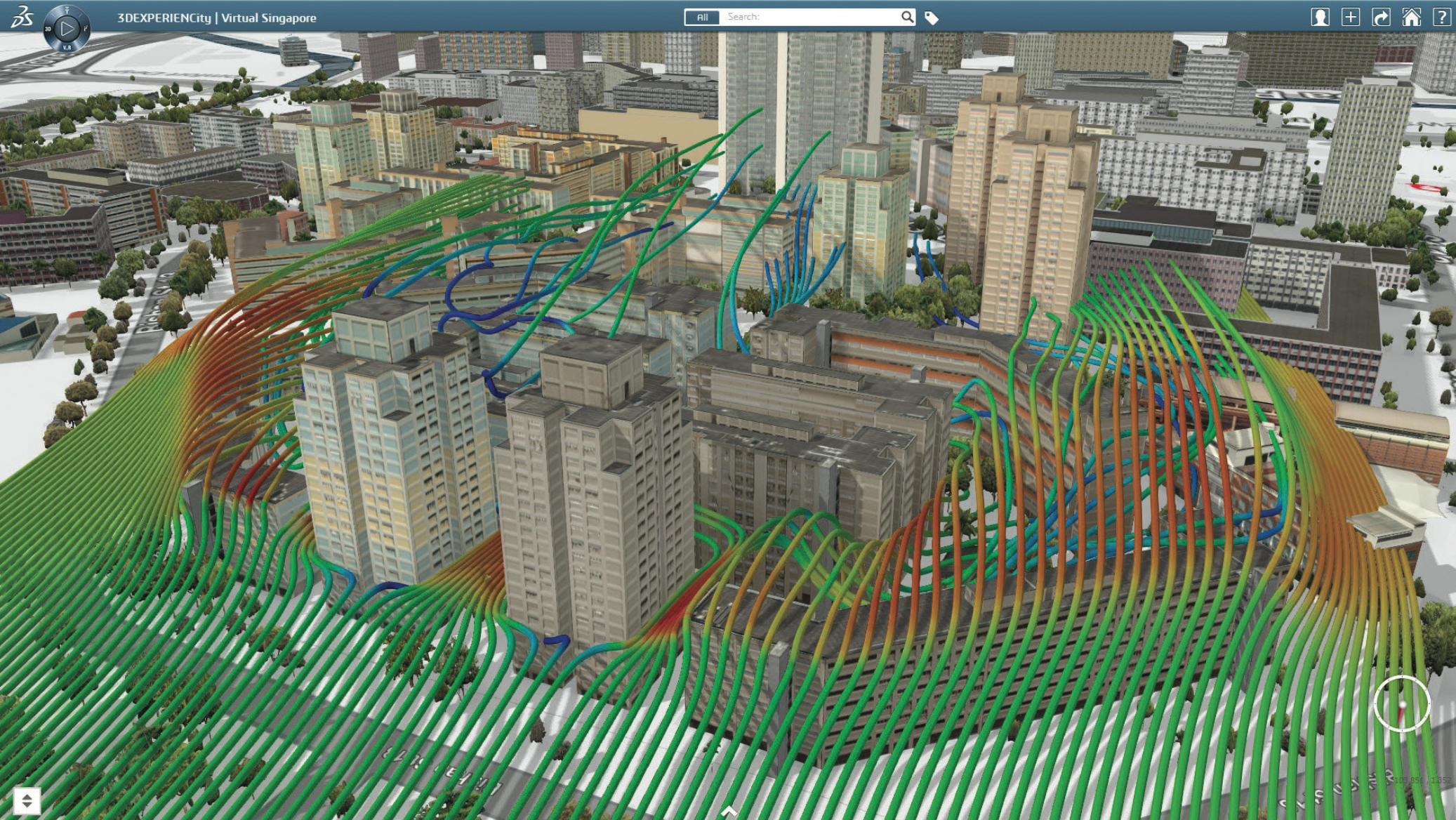 3DEXPERIENCity, Wind Simulation for Singapore City, Singapore.