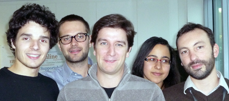 From left to right, you can see Lionel, François, myself, Sonia and Etienne.