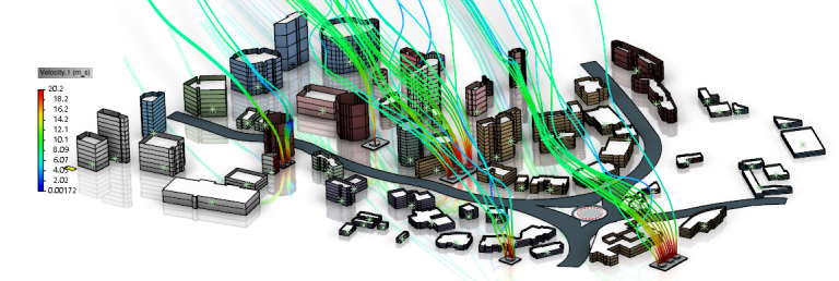 Transport of pollutants in a city due to wind. Here we see streamlines of the pollutants and how they get affected by the presence of the buildings.