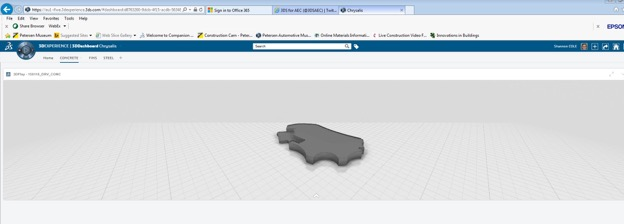 3DPlay Widget, showing concrete base model, being used to to resolve clashes between requested concrete curbs and steel base plate locations