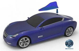 Automotive radar with a 'shark fin' antenna